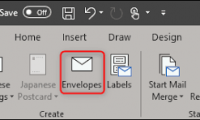 How To Create And Print Envelope in Words