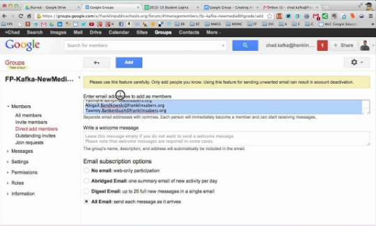 google groups email